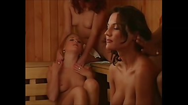 Lesbians making out in the sauna