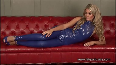 Sexy latex fetish of blonde Charlotte in tight rubber suit and softcore