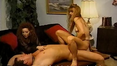 Kinky brunette wench grinds her twat against a stud's fat shaft