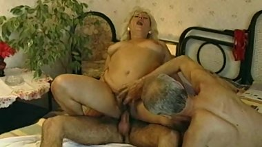 Hairy Pussy Blonde Mature Fumbled By Two Cocks