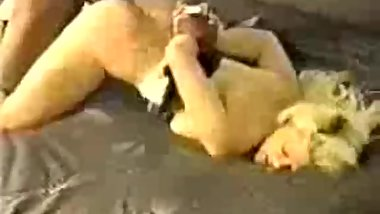 Vintage cute blonde slut takes BBC bull facial bondage teabag, low def vid