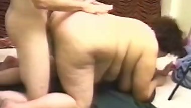 Vintage amateur Fat Granny and skinny boy fuck clip