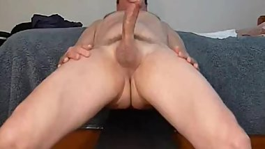A vintage, solo masturbation show - lying back and rubbing my cock!