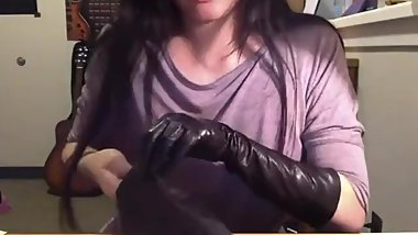 putting on magnificent pair of long vintage unlined soft leather gloves