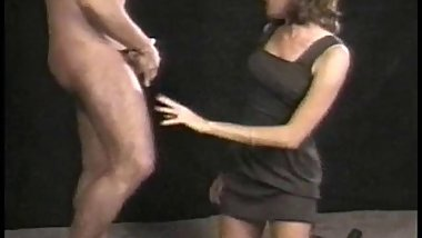 Hot blonde in black dress sucks dick and gets fucked