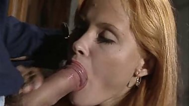 Awesome facial for redheaded whore