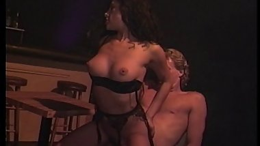 Dark haired porn slut fucked at the bar
