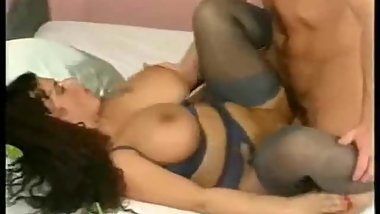 Luscious german MILF in blue stockings fucked at home