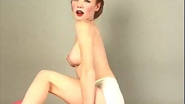 sexy freckles redhead heather striptease 40s vintage style