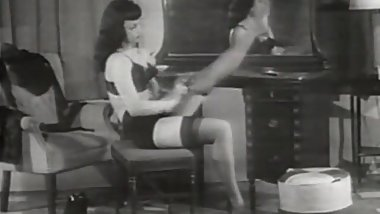 Horny Brunette Looks Sexy in Her Lingerie (1950s Vintage)