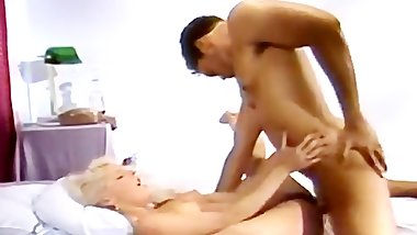 Blonde pussy massaged by stick