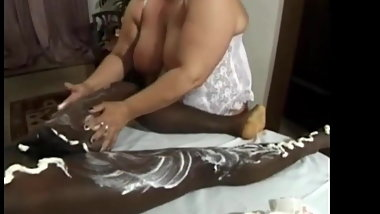 German granny massages black guy