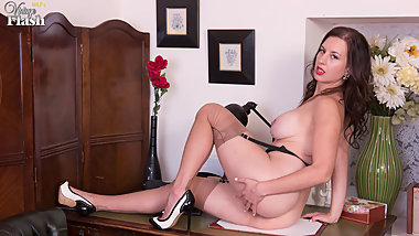 Busty brunette masturbates in vintage black seamed nylons