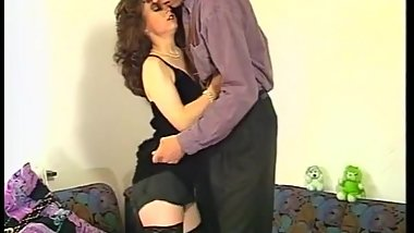Cute petite in polka dot stockings gets fucked and rides